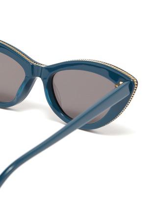 Detail View - Click To Enlarge - STELLA MCCARTNEY - Chain rim acetate cat eye sunglasses