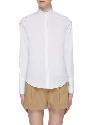 Main View - Click To Enlarge - EQUIL - Lace trim mandarin collar shirt