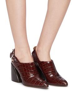 Chloé 'Wave' croc embossed leather slingback pumps