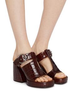 Chloé 'Wave' buckled croc embossed leather platform sandals