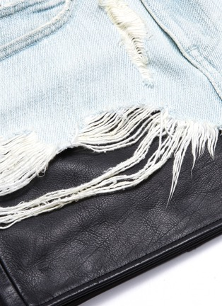 - ALEXANDERWANG - Leather underlay ripped denim skirt