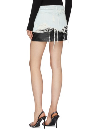 Back View - Click To Enlarge - ALEXANDERWANG - Leather underlay ripped denim skirt