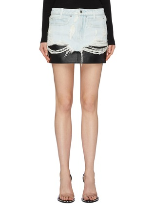 Main View - Click To Enlarge - ALEXANDERWANG - Leather underlay ripped denim skirt