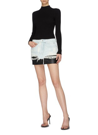 Figure View - Click To Enlarge - ALEXANDERWANG - Leather underlay ripped denim skirt