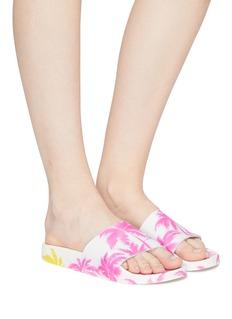 Joshua Sanders Palm print leather slide sandals