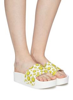 Joshua Sanders Smiley print platform slide sandals