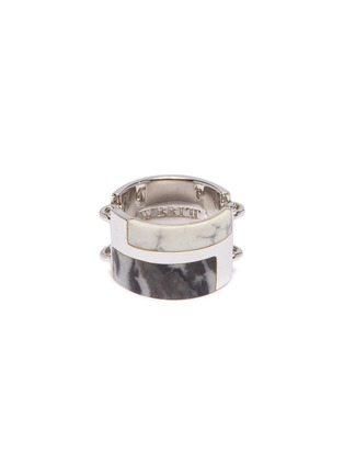 Main View - Click To Enlarge - W. BRITT - Zebra stone howlite link silver ring