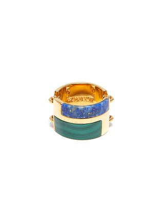 Main View - Click To Enlarge - W. BRITT - Malachite lapis link silver ring