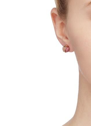 Figure View - Click To Enlarge - W. BRITT - 'Cylinder' rose quartz rhondonite stud earrings