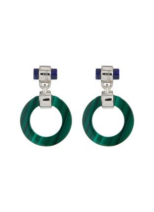 Main View - Click To Enlarge - W. BRITT - 'Full Circle' malachite lapis drop earrings