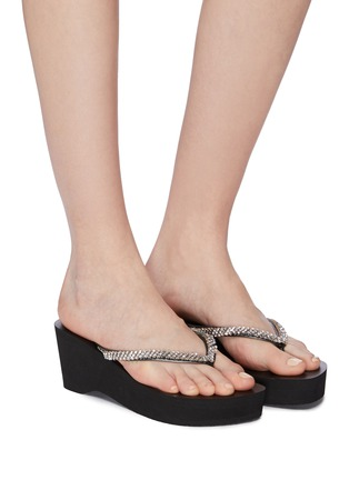 ea1698d05 Figure View - Click To Enlarge - Uzurii -  Classic  strass PVC wedge thong