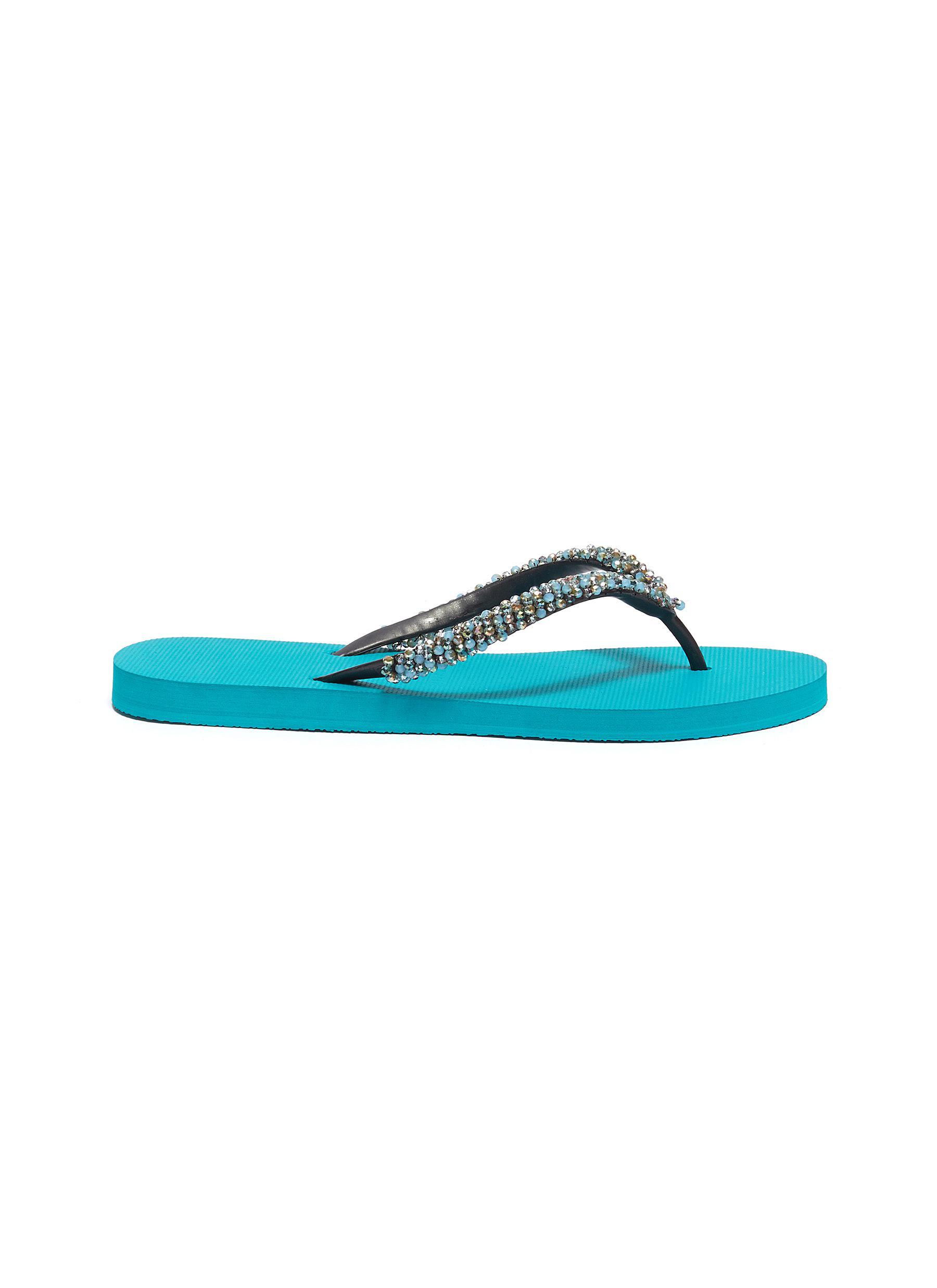 5f02d6384 Uzurii.  Precious Classic  crystal PVC thong sandals