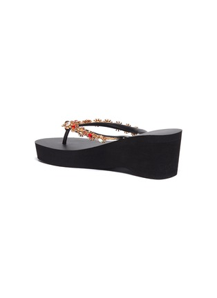 4ce625328 Uzurii -  Colorful Diana  crystal floral PVC wedge thong sandals