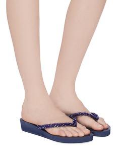 Uzurii 'Precious Classic' crystal PVC wedge thong sandals