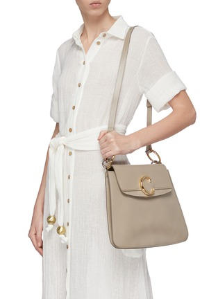 Front View - Click To Enlarge - CHLOÉ - 'Chloé C' suede panel medium leather shoulder bag