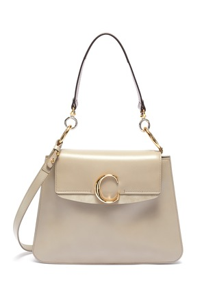 Main View - Click To Enlarge - CHLOÉ - 'Chloé C' suede panel medium leather shoulder bag