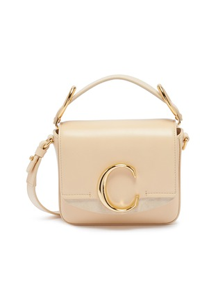 Main View - Click To Enlarge - CHLOÉ - 'Chloé C' suede panel mini leather top handle bag
