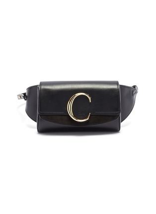Main View - Click To Enlarge - CHLOÉ - 'Chloé C' suede panel leather bum bag