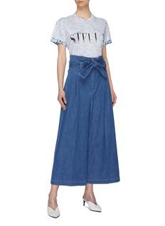Stella McCartney 'Maggie' belted paperbag denim culottes