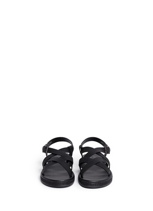 Figure View - Click To Enlarge - GIORGIO ARMANI SHOES - Jute midsole basketweave leather strap sandals