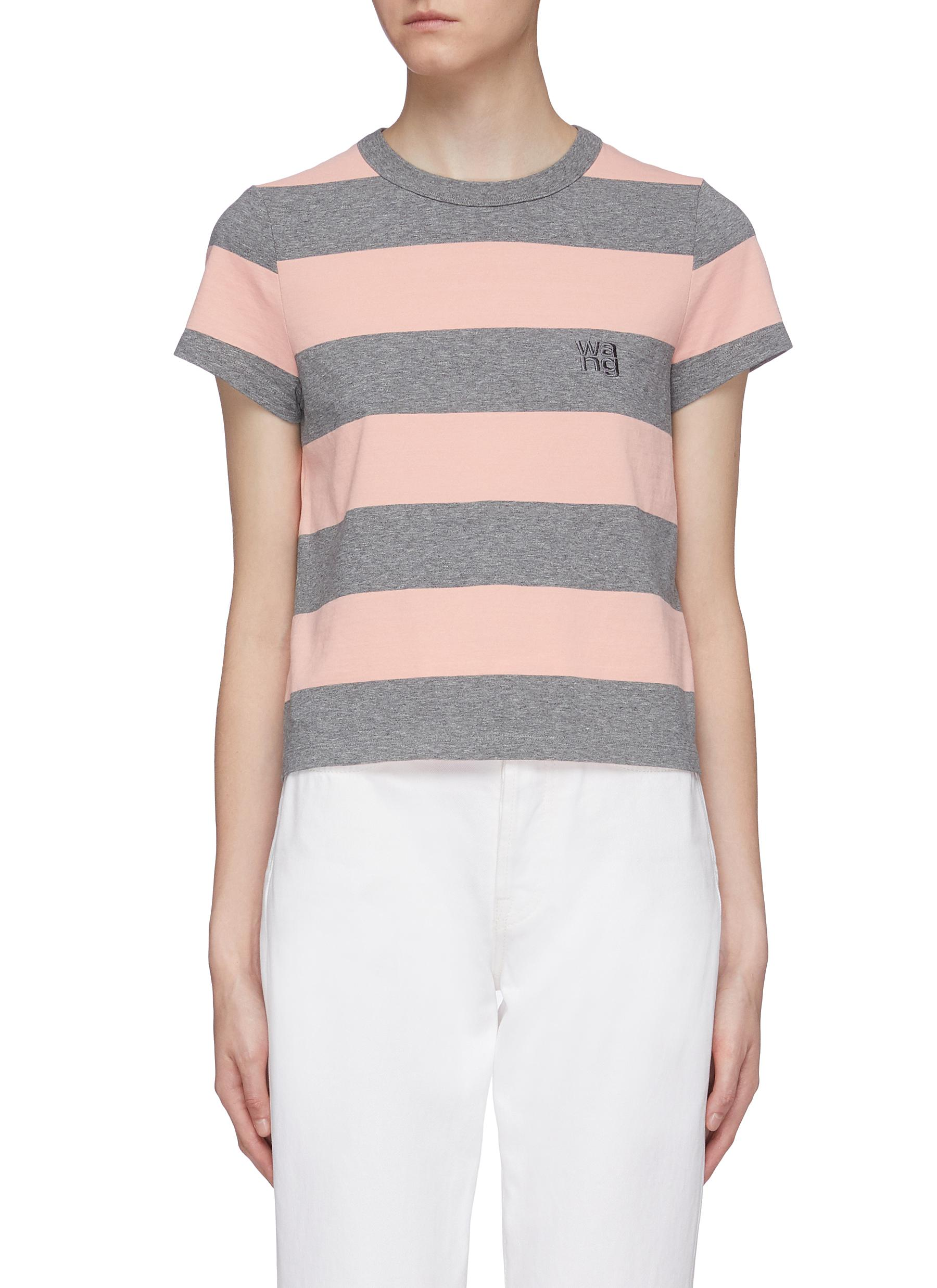 Wash + Go logo embroidered stripe T-shirt by Alexanderwang.T