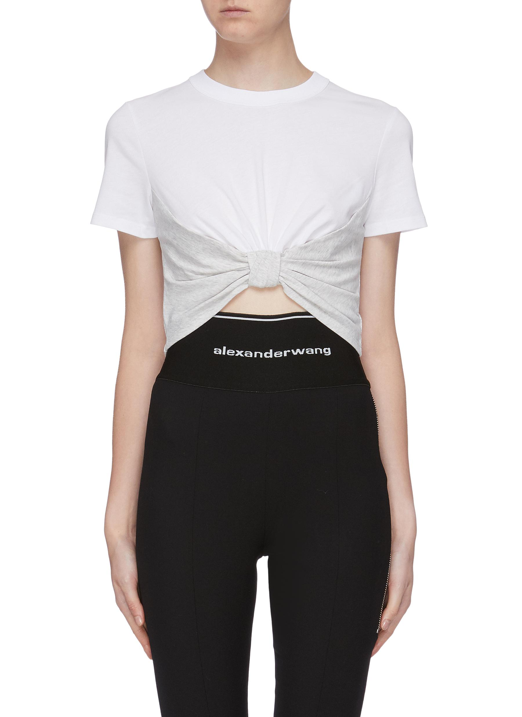 Knot front colourblock cropped T-shirt by Alexanderwang.T