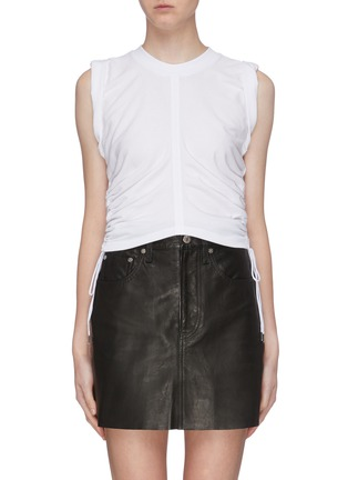 Main View - Click To Enlarge - ALEXANDERWANG.T - 'Wash + Go' ruched side cropped sleeveless top