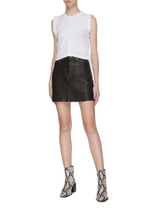 Figure View - Click To Enlarge - ALEXANDERWANG.T - 'Wash + Go' ruched side cropped sleeveless top