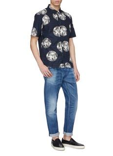 DENHAM 'Sherman' plant circle print stripe short sleeve shirt