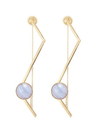 Main View - Click To Enlarge - OLIVIA YAO - 'Fliegt' lace agate magent angular bar earrings