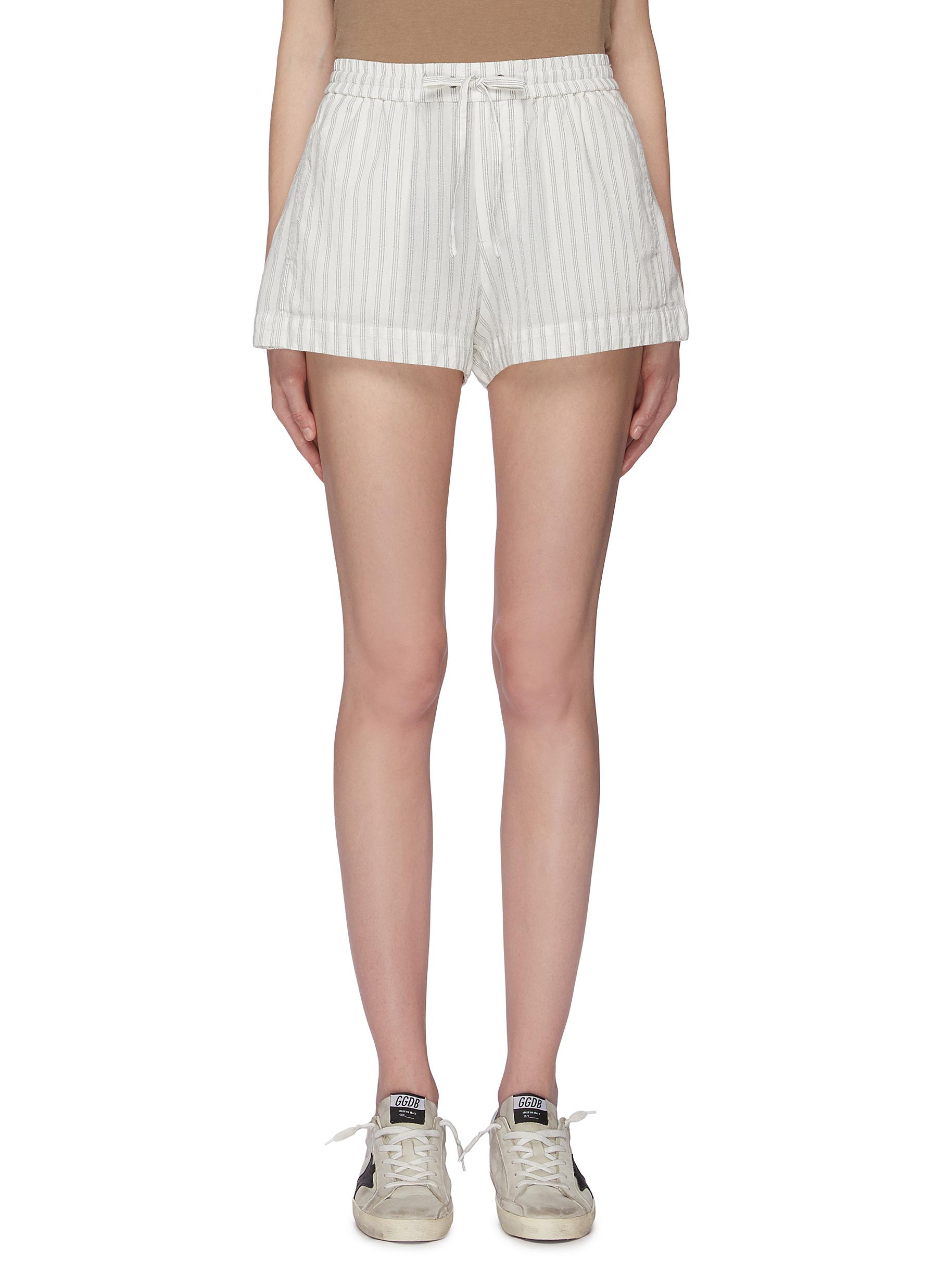 Drawstring stripe shorts by James Perse