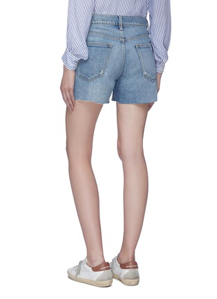 Back View - Click To Enlarge - CURRENT/ELLIOTT - 'The Aficionado' frayed cuff contrast pocket denim shorts