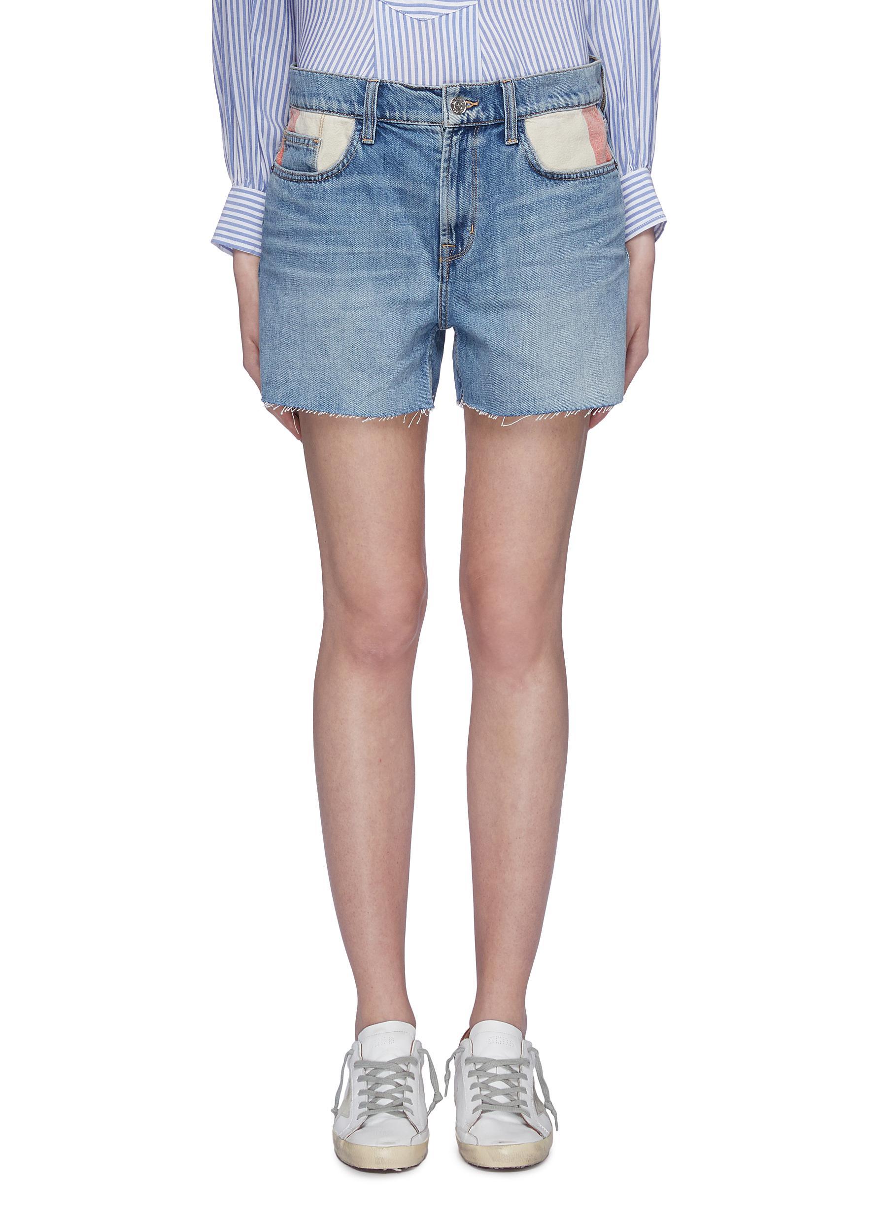 The Aficionado frayed cuff contrast pocket denim shorts by Current/Elliott