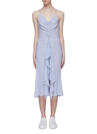 Main View - Click To Enlarge - CURRENT/ELLIOTT - 'The Ocean Walk' tiered ruffle hem stripe slip dress
