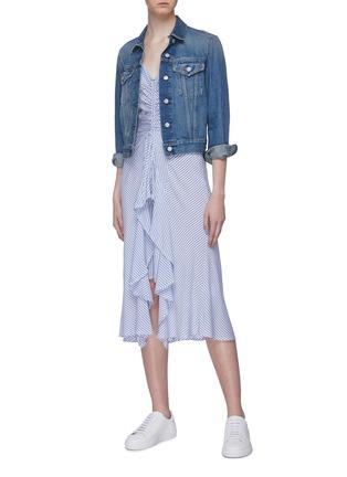 Figure View - Click To Enlarge - CURRENT/ELLIOTT - 'The Ocean Walk' tiered ruffle hem stripe slip dress