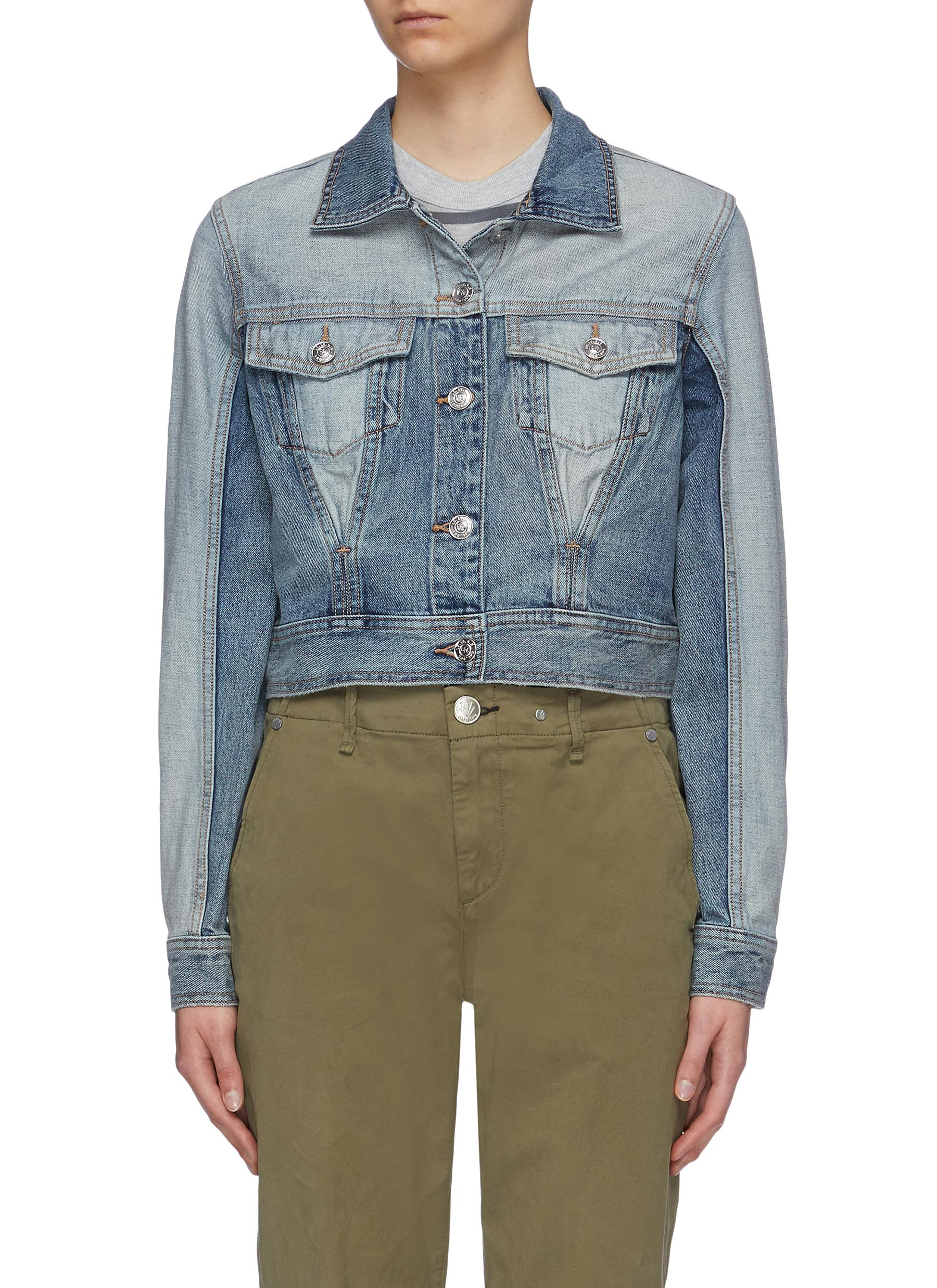 The Reversed patchwork corset cropped denim jacket by Current/Elliott