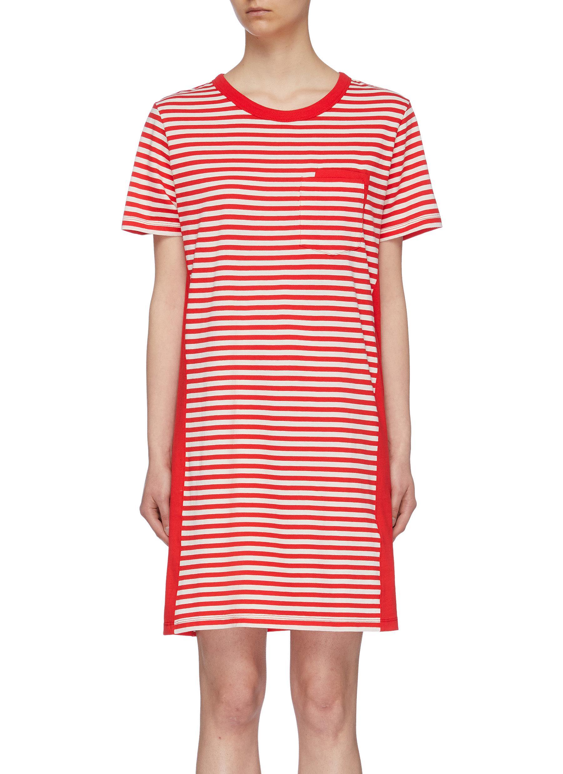 Beatnik colourblock panel stripe T-shirt dress by Current/Elliott