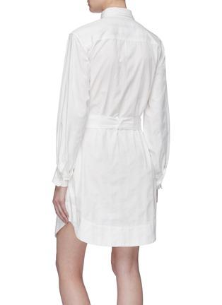 Back View - Click To Enlarge - CURRENT/ELLIOTT - 'The Carmel' belted herringbone stripe shirt dress