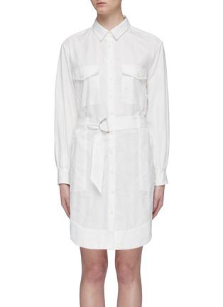 Main View - Click To Enlarge - CURRENT/ELLIOTT - 'The Carmel' belted herringbone stripe shirt dress