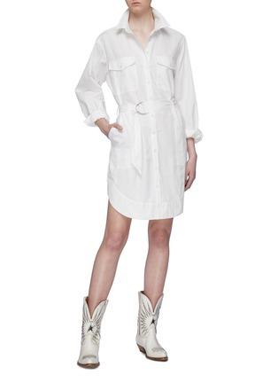 Figure View - Click To Enlarge - CURRENT/ELLIOTT - 'The Carmel' belted herringbone stripe shirt dress