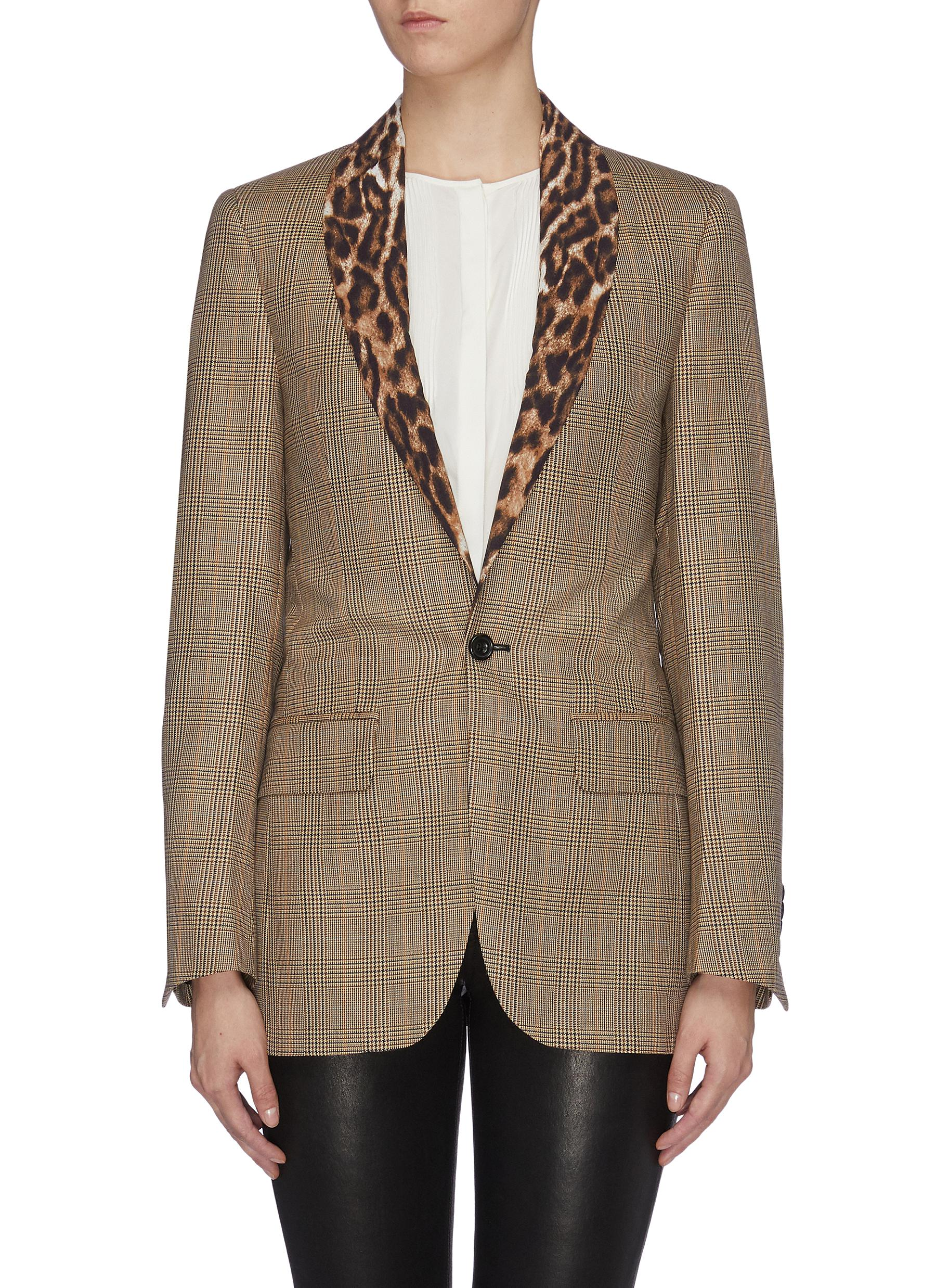 Leopard print shawl lapel wool houndstooth check plaid blazer by R13