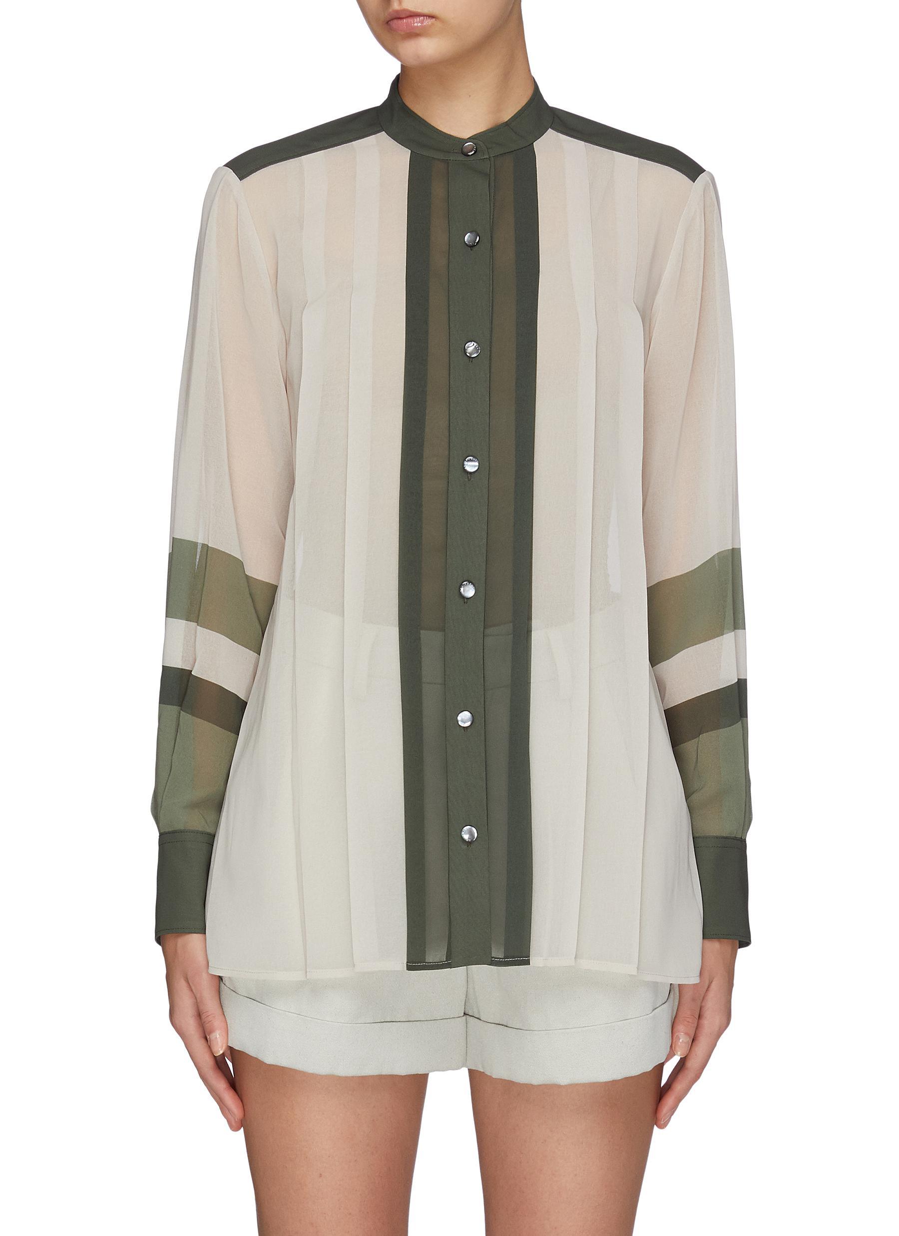 Sintrine colourblock pleated stripe shirt by Equipment