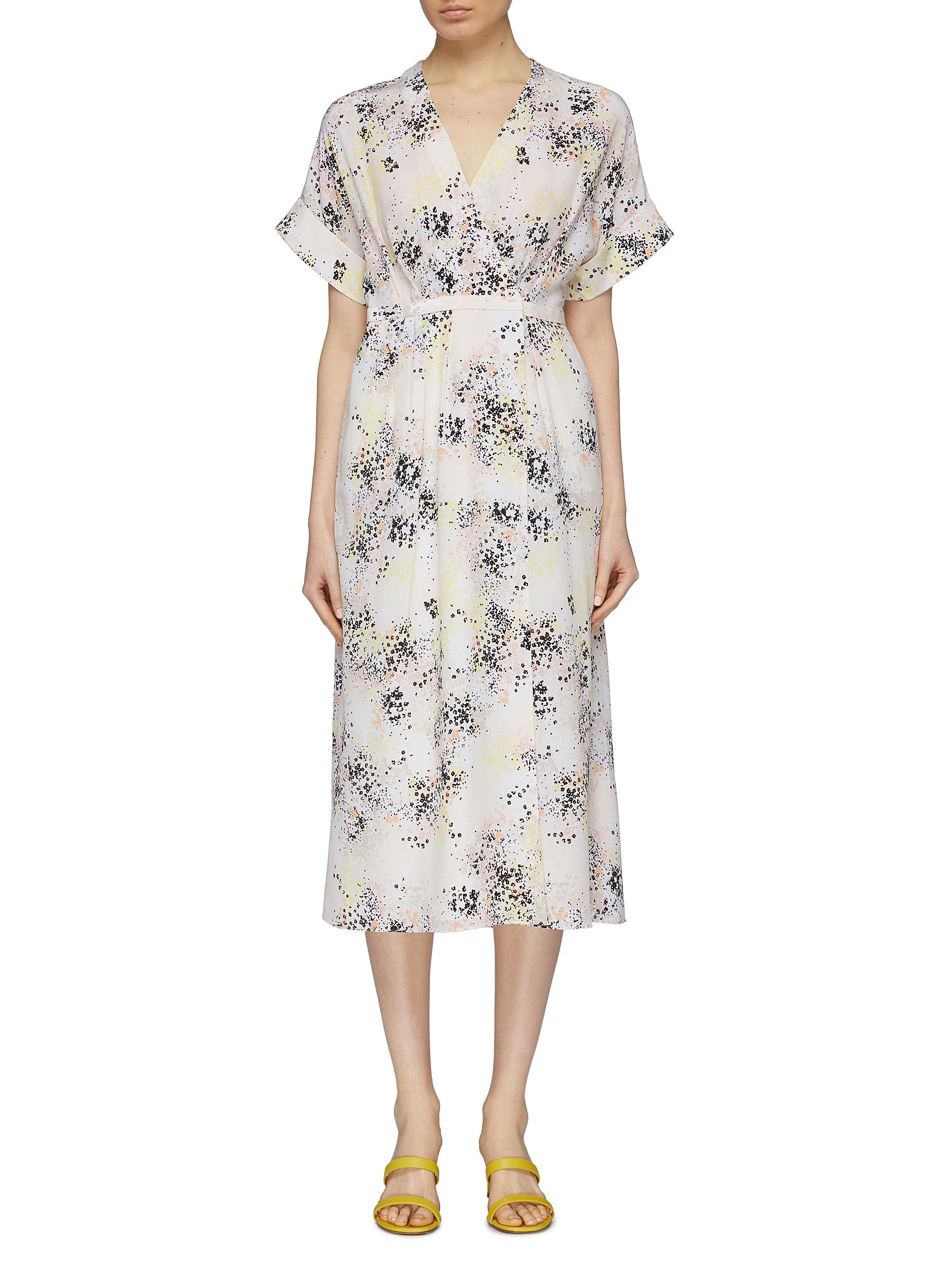 Tavine floral print silk crepe wrap dress by Equipment