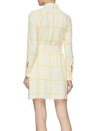 Back View - Click To Enlarge - EQUIPMENT - 'Edwidge' belted windowpane check crepe mini shirt dress