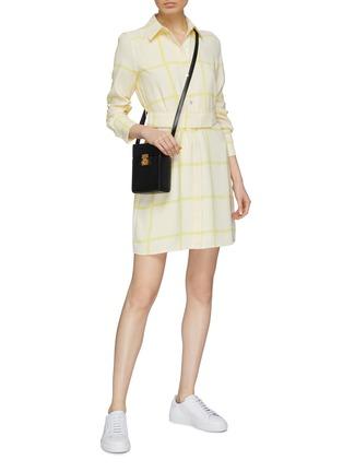 Figure View - Click To Enlarge - EQUIPMENT - 'Edwidge' belted windowpane check crepe mini shirt dress