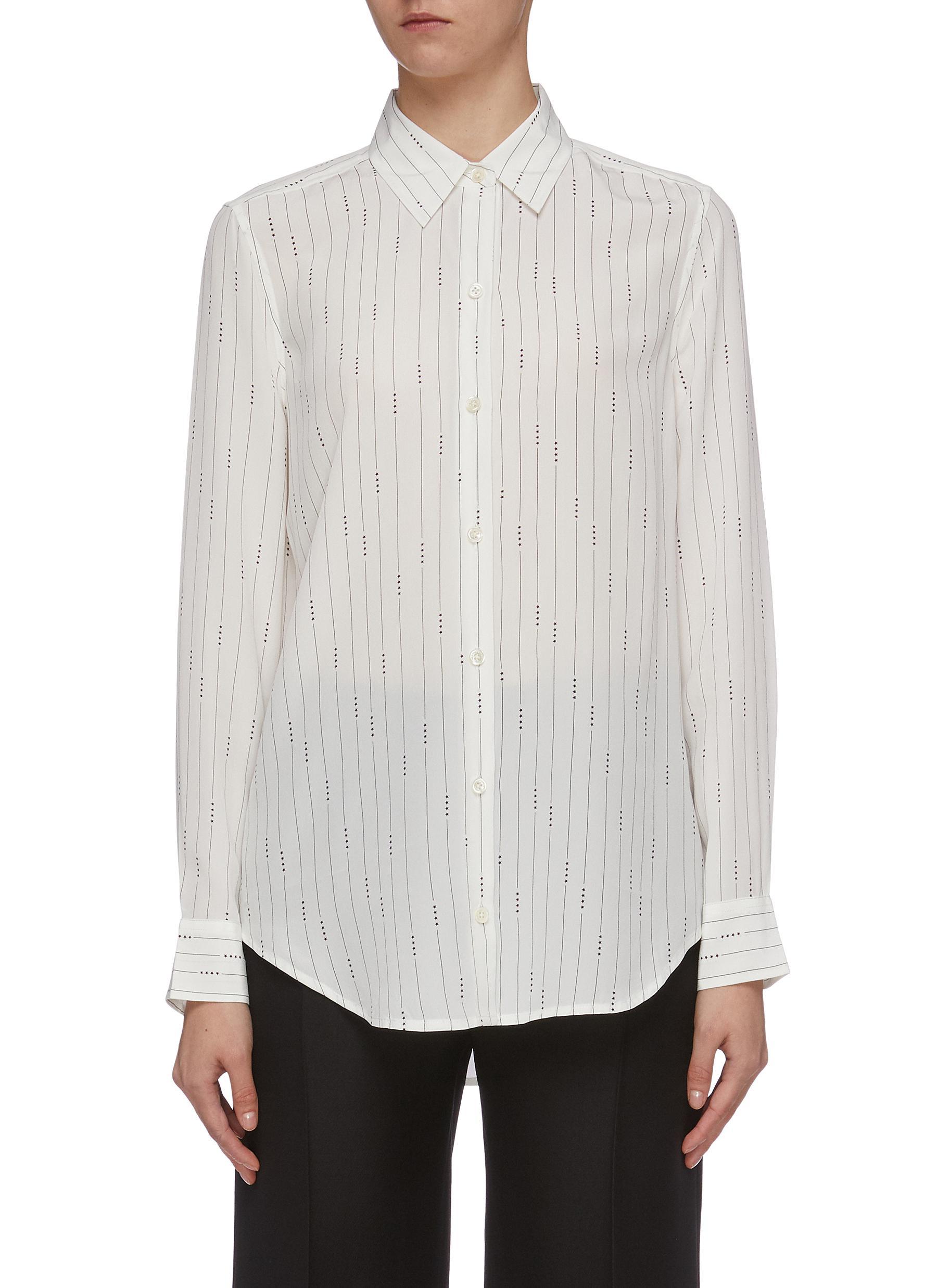 Essential star pinstripe silk shirt by Equipment