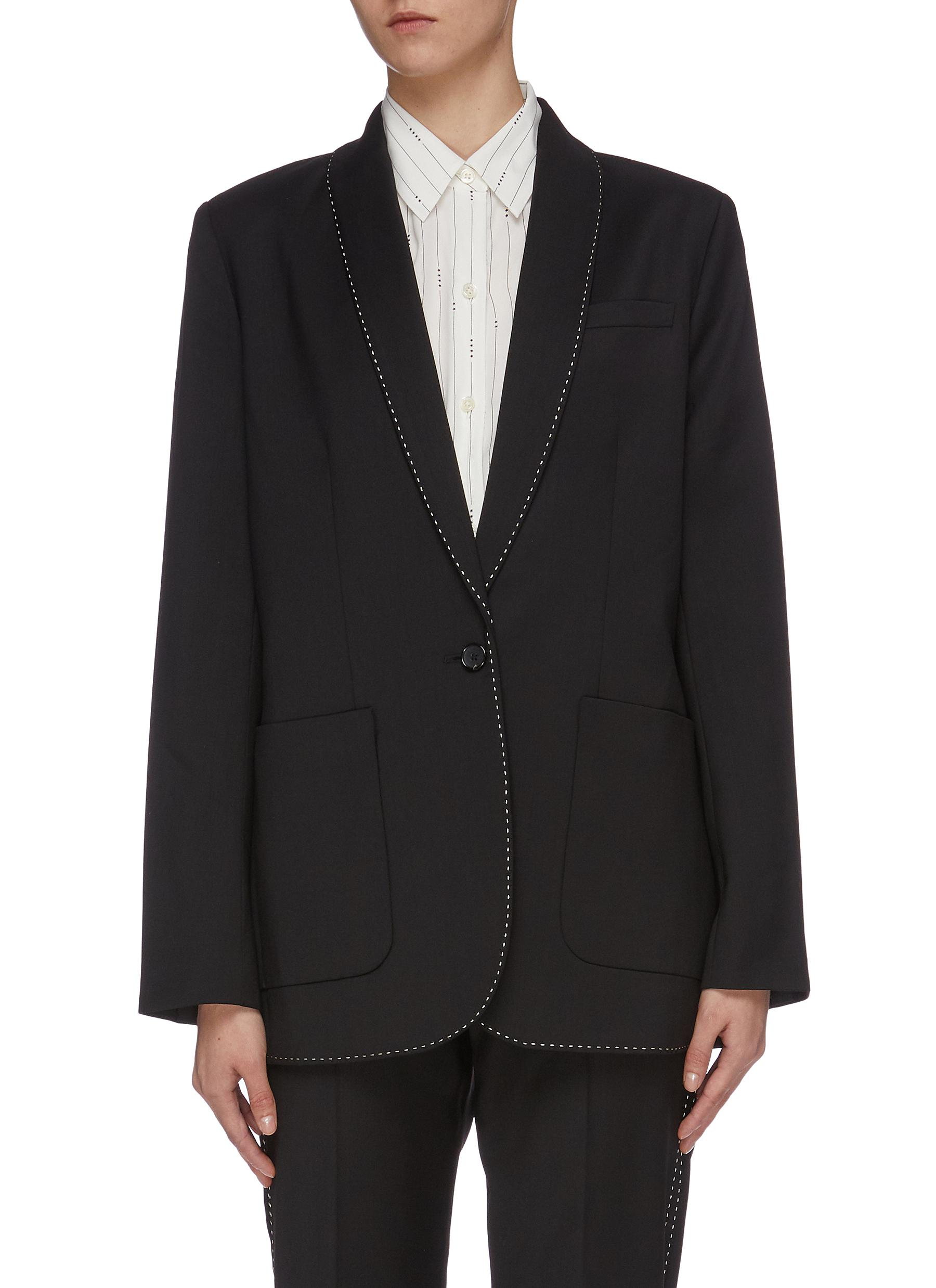 Matthieu contrast topstitching shawl lapel wool blazer by Equipment