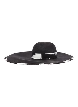 Main View - Click To Enlarge - EUGENIA KIM - 'Sydney' brushstroke print asymmetric brim straw hat
