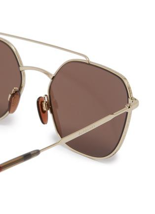 Detail View - Click To Enlarge - BURBERRY - Tartan plaid tip metal square sunglasses