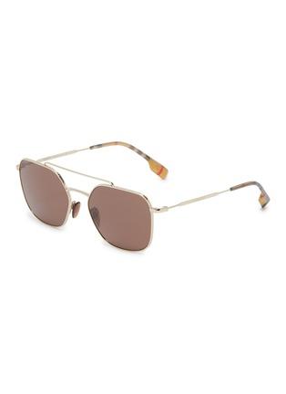 Main View - Click To Enlarge - BURBERRY - Tartan plaid tip metal square sunglasses